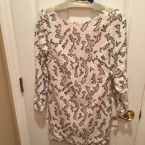 ZARA BASIC sequin and mesh patterned dress