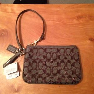 Coach Gray sequins wristlet new with tags 50481