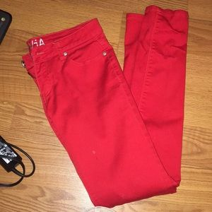 All red skinny jeans
