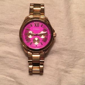 Fossil Rose Gold Pink Face Watch Working Battery!