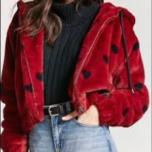 Forever 21 Faux Fur Read & Black Heart Crop Jacket
