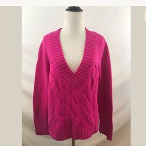 J. Crew Olivia Cable V-Neck Sweater in Pink