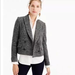 J.CREW Double-Breasted Cropped Grey Wool Blazer