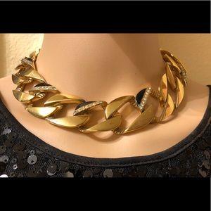 Givenchy Gold Necklace w Enamel, Rhinestones