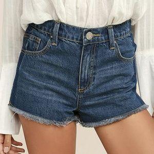 Lulus Crystal Cove Trace denim short shorts
