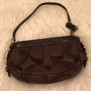Coach brown and gold wristlet