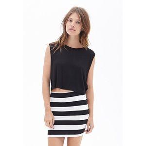 Forever 21 Black & White Striped Bodycon Skirt