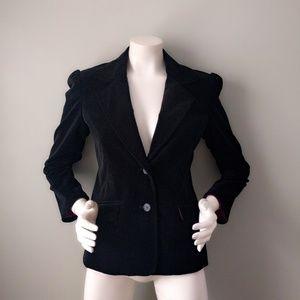 Old Navy Black Puff Shoulder Velvet Blazer S