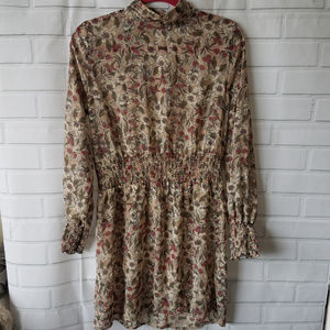 Anthropologie Paper Crane floral cream high neck L