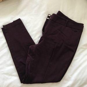 Maroon Skinny Ankle Dress Pants