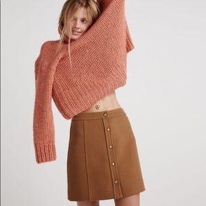 Madewell Snap-front Camel Wool Miniskirt 0