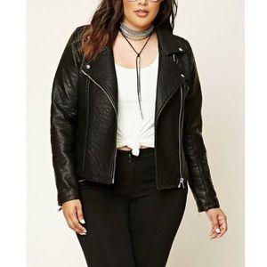 Textured Faux Leather Moto Jacket Plus 1X Black