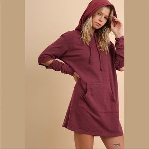 Washed Hooded Pocket Dress with Elbow Cutouts