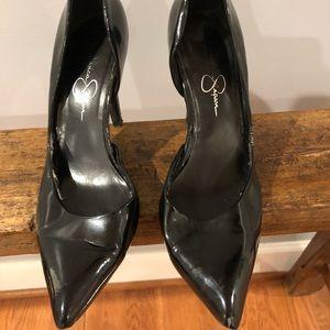 Jesica Simpson Patent Black Heels 7.5 -Used