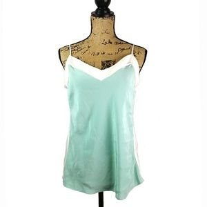 🆕W by Worth 💯Silk Charmeuse Mint & White Cami!