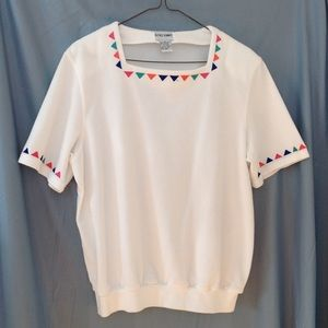 1980s ALFRED DUNNER white knit top