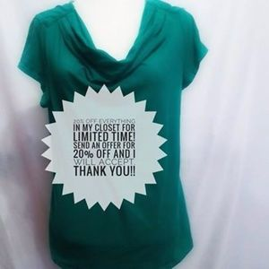Merona Green women's cowl neck t shirt size large