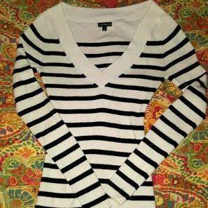 Express black/cream stripe V-neck sweater - XS