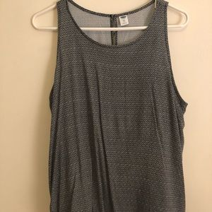 Swing black and white tank with keyhole back