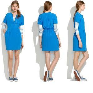 Madewell blue blouson short sleeve silk dress sz 0