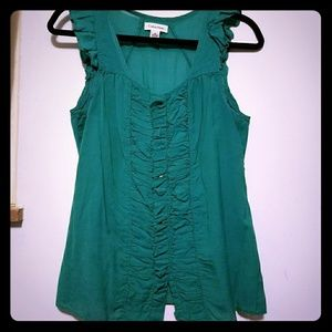 Gorgeous CK green/teal ruffled button down