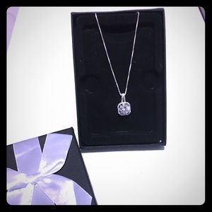 Silver necklace and CZ Pendant