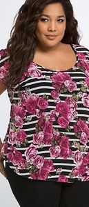 Enlarge  Striped Rose Button Back Top