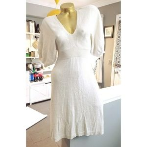 Express winter white & gold shimmer sweater dress
