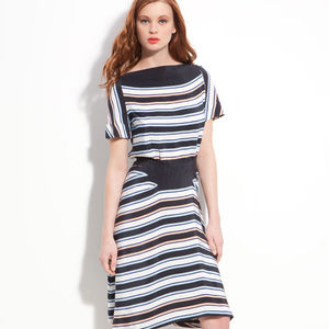 Marc by Marc Jacobs 10 Blue Silk Striped Dress