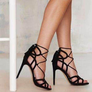 Strappy tassel Tie suede heels Nasty Gal Lipstick