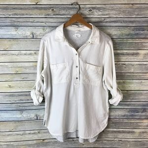 Lou & Grey White Grey Button Up Popover Blouse