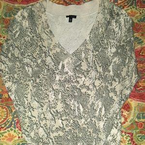❤Express cream studded snake-print V-neck sweater