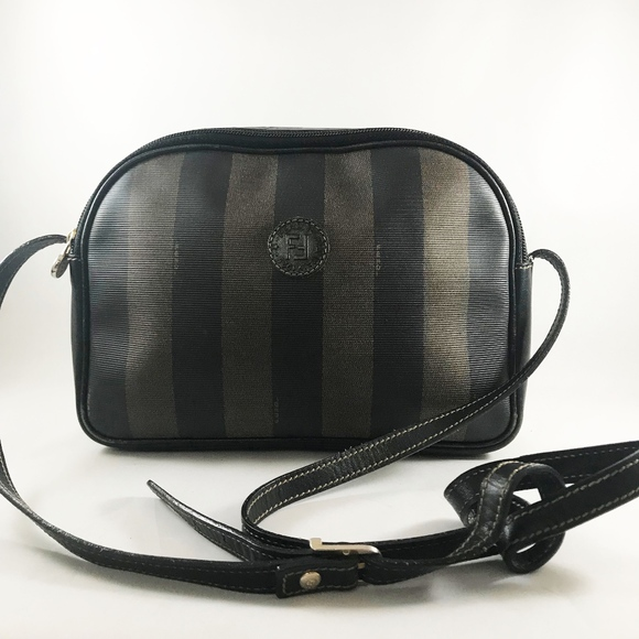 1cb9ed4208 FENDI Handbags - Vintage Fendi Pequin Logo Striped Black Crossbody