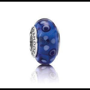 2 Pandora Spotted Blue Murano Beads