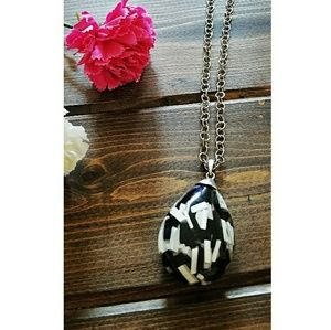 Long Silver Chain with Black & White Pendant