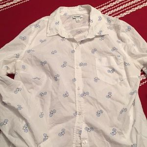 Old navy large button down shirt bicycle print