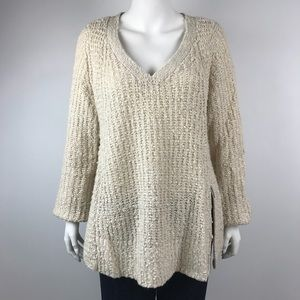 Anthropologie Moth Nubby Side Zip Sweater