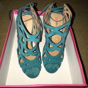 Turquoise peep toe heels