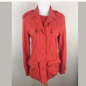 Zara basic collection utility jacket coral