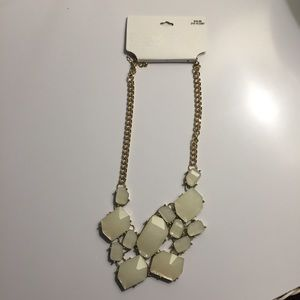 White and Gold Faux Stone Statement Necklace