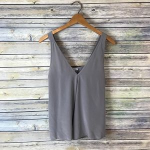 Rae Francis Grey Sleeveless 100% Silk Blouse