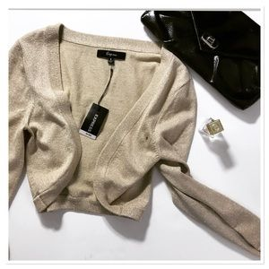 Express Cardigan open cropped golden sparkling