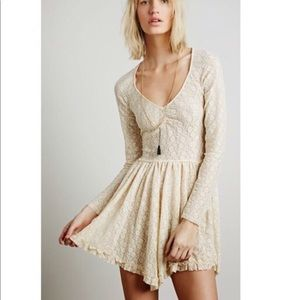Women's Natural Slip Dress - Star Lace Witchy