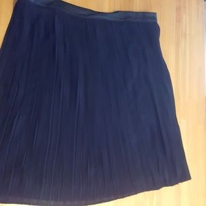 Black Pleated Skirt w/Faux Leather Waistband