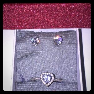 Heart ring and earring set