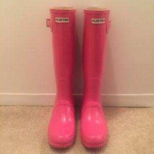 Pink Original Glossy Hunter Rainboots