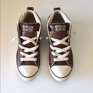 Brown Leather Converse Mid