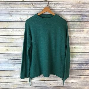 Pure Jill Green Long Sleeve Mock Neck Sweater
