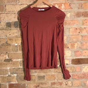 Zara rust pleated shoulder long sleeve shirt