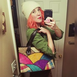 Bright and funky, woven bag!!